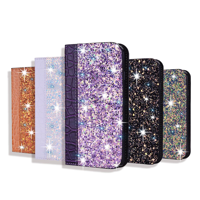 Glitter bling caso para o iphone 7 8 6 s plus 5S funda couro flip book caso para o iphone x xr xs max 11 pro max suporte capa coque