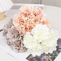 5 pieces Rose Soie Rose Fleurs Artificielles Pivoine Bouquet De Mariee pour Mariage Maison BRICOLAGE Decoration Pas Cher Faux Hortensia Fleurs Artisanat