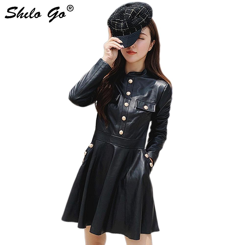 Vestido de cuero genuino Preppy negro Mock Neck botón vestido frontal mujeres otoño elegante Fit y Flare bolsillo lateral vestidos sólidos