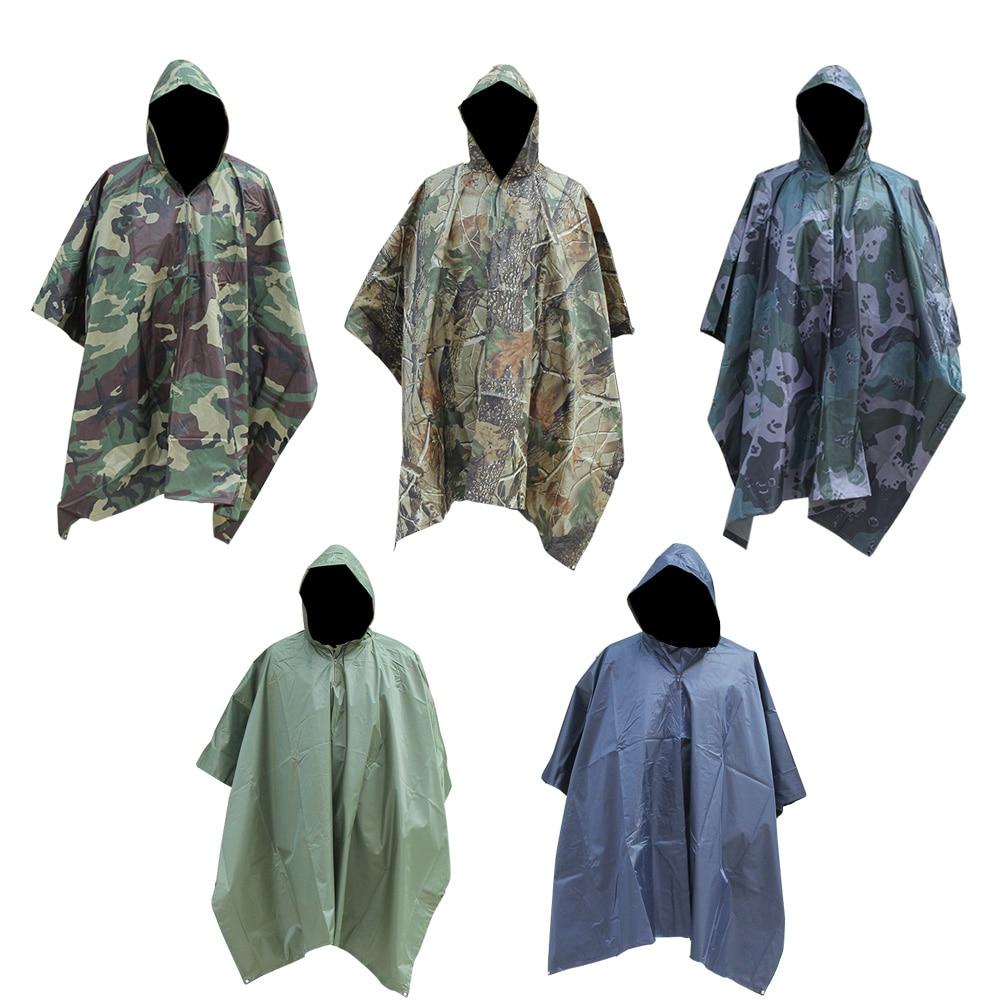 Impermeable para hombres impermeable de camuflaje al aire libre senderismo Camping caza con capucha cubierta de lluvia Poncho montar bicicleta/Motor toldo de lluvia chubasquero