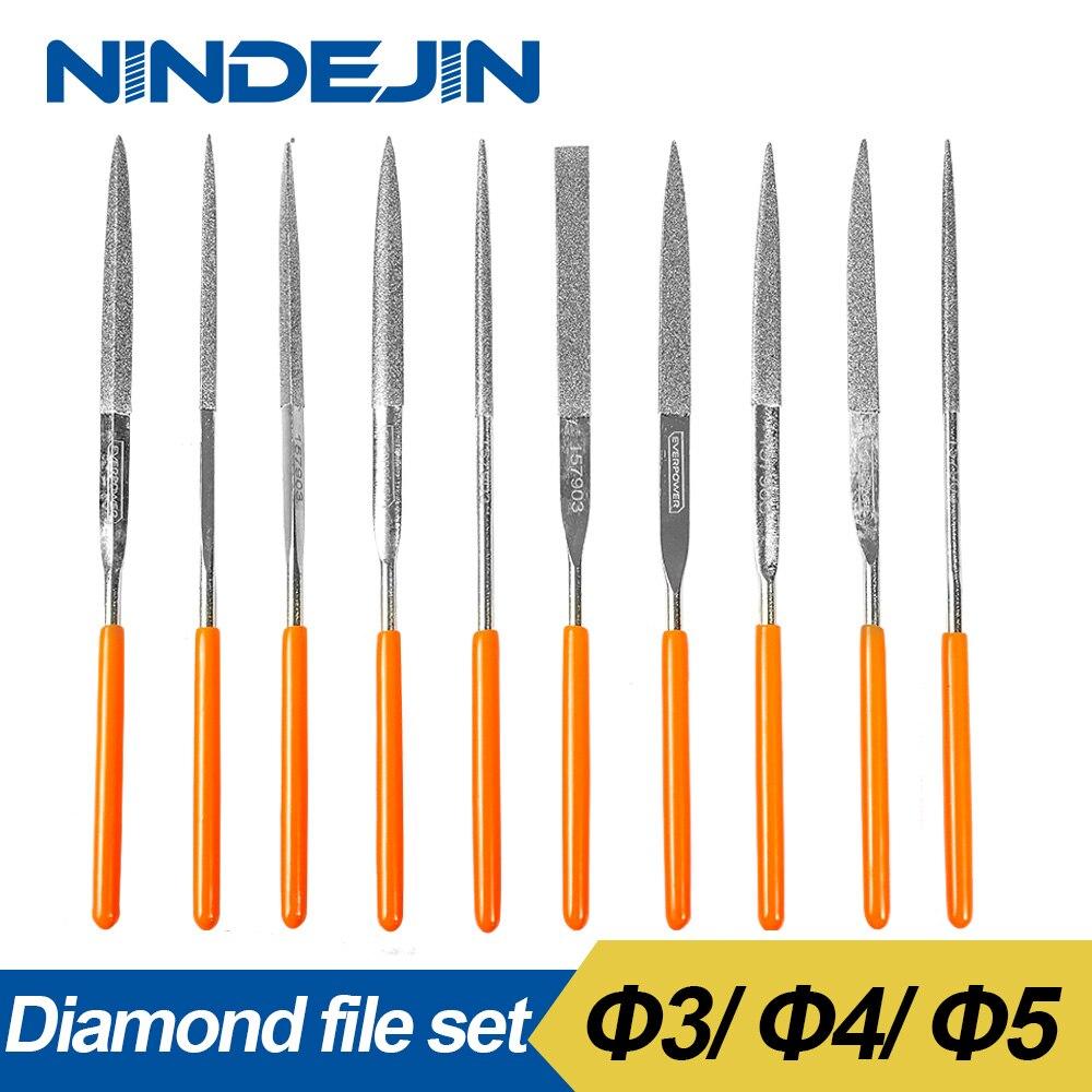 NINDEJIN 10pcs/set diamond needle file set #45 steel 3x140mm 4x160mm 5x180mm diamond sharpening file set for Metal Ceramic Stone sata 03810 for needle set 10пр different types and sectional 140mm straight diamond