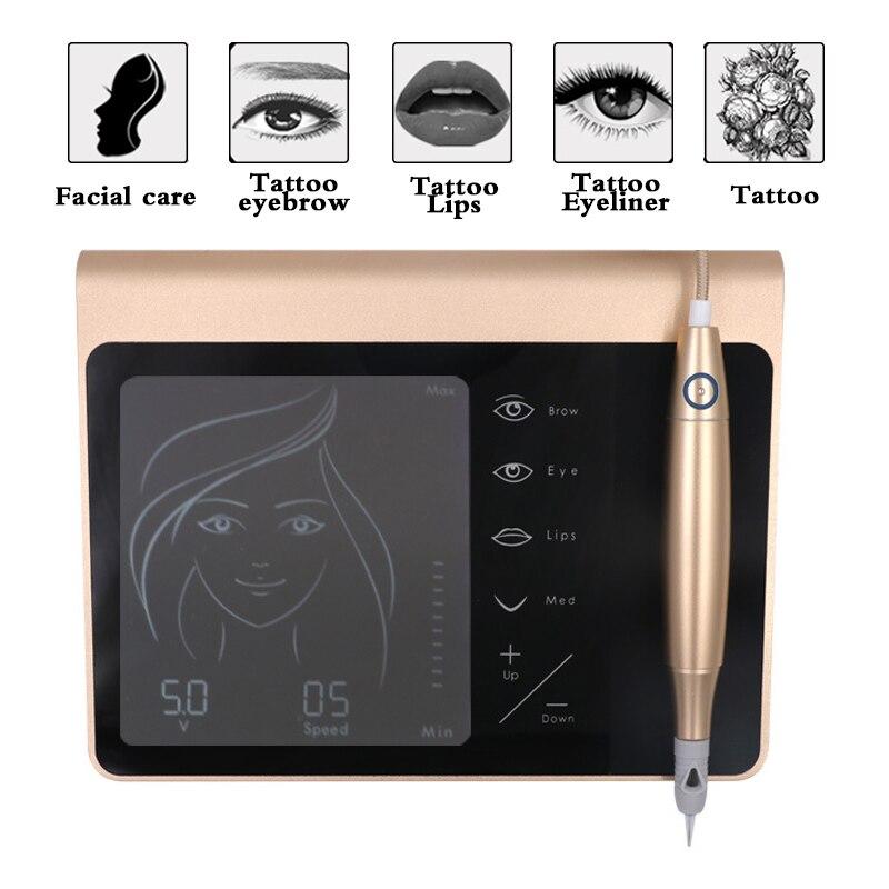 newPermanent Makeup Machine Kit Eyebrow Lip Eyeliner Machine With 2 Cartridge Neeldes Touch Screen Rechargeable Battery EU Plug