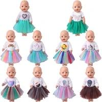 43 cm boy american dolls dress cartoon unicorn rainbow lion yarn skirt born baby toys accessories fit 18 inch girls doll f830
