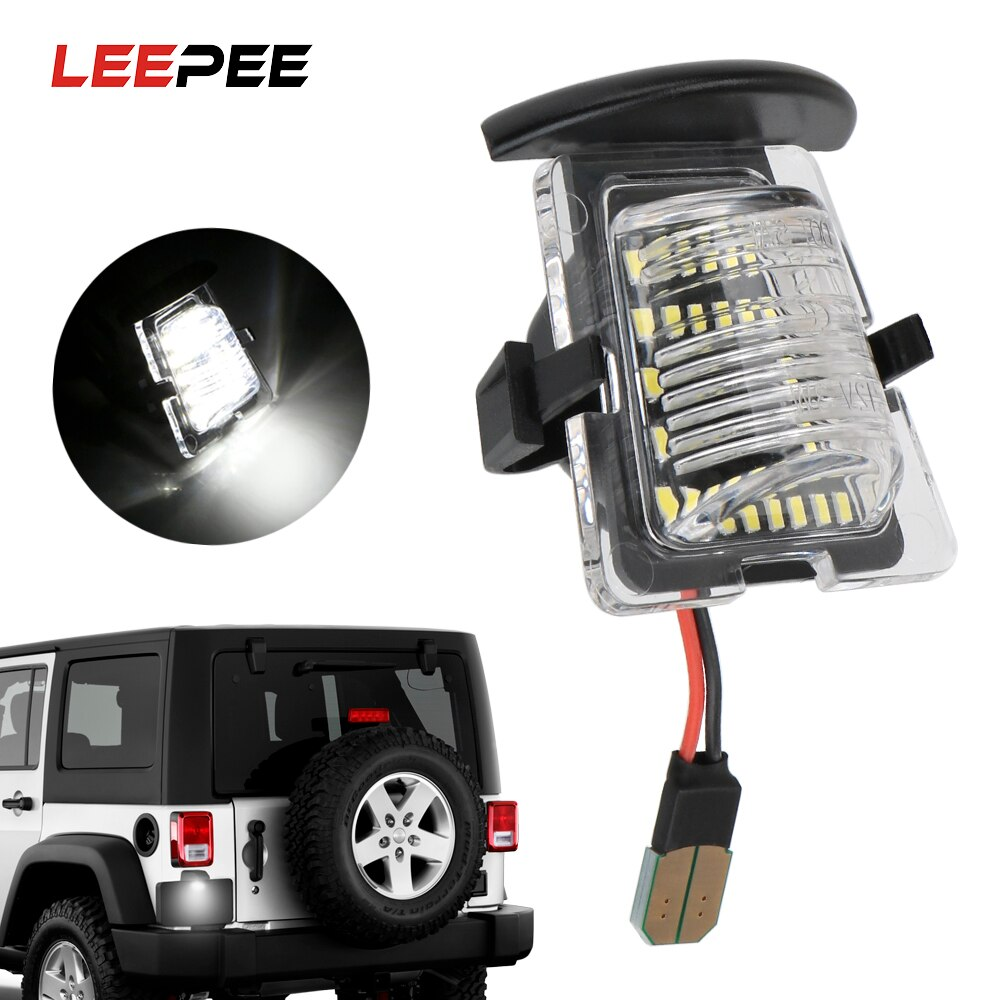 LEEPEE, luz de LED para placa de matrícula, accesorios de coche, luz de licencia de coche para Jeep Wrangler JK JKU 2007-2018, diseño de coche blanco