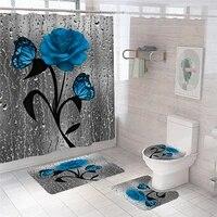 Ensemble de tapis antiderapant pour salle de bain  motif fleur bleue et papillon  rideau de douche Durable  impermeable  sous-sol  couvercle de toilette  tapis de bain