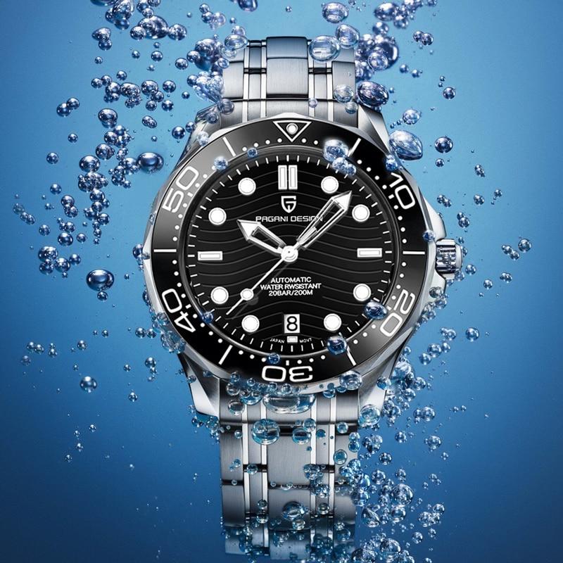ساعة يد ميكانيكية جديدة للرجال من PAGANI موديل عام 2021 ساعة يد أوتوماتيكية للرجال فاخرة بمرآة من الياقوت NH35 200 متر ساعة للغوص للرجال