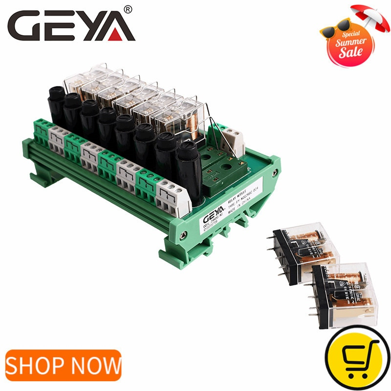 GEYA-وحدة ترحيل Omron ذات 8 قنوات NGG2R ، مرحل SPDT PLC ، 12 فولت تيار مستمر ، 24 فولت تيار مستمر ، مع حماية فيوز 8A