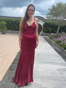 Red dress 100% silk dress taior make Mother Of the Bride Groom Dresses Formal Party Wedding Evening Party Gowns