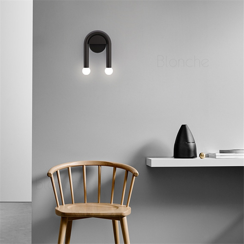 Modern LED Wall Lights Nordic Simple U Shape Wall Lights Iron Art Fixtures for Bedroom Bedside Living Room Corridor Led Sconces