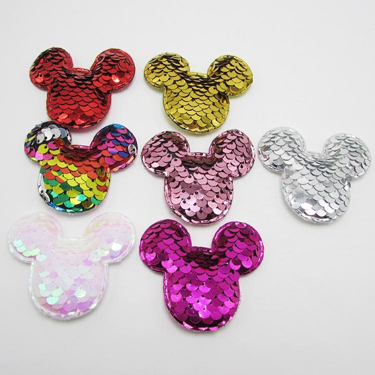 14 unids/lote brillo tela de lentejuelas Mickey acolchado parches ratón apliques para manualidades DIY ropa sombreros horquilla ornamento Accesorios