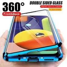 Магнитный металлический чехол для Xiaomi Redmi Note 10 9T 9 8 7 9A 9C 10T POCO X3 M3 F3 Pro Lite, двухсторонняя стеклянная крышка, 360