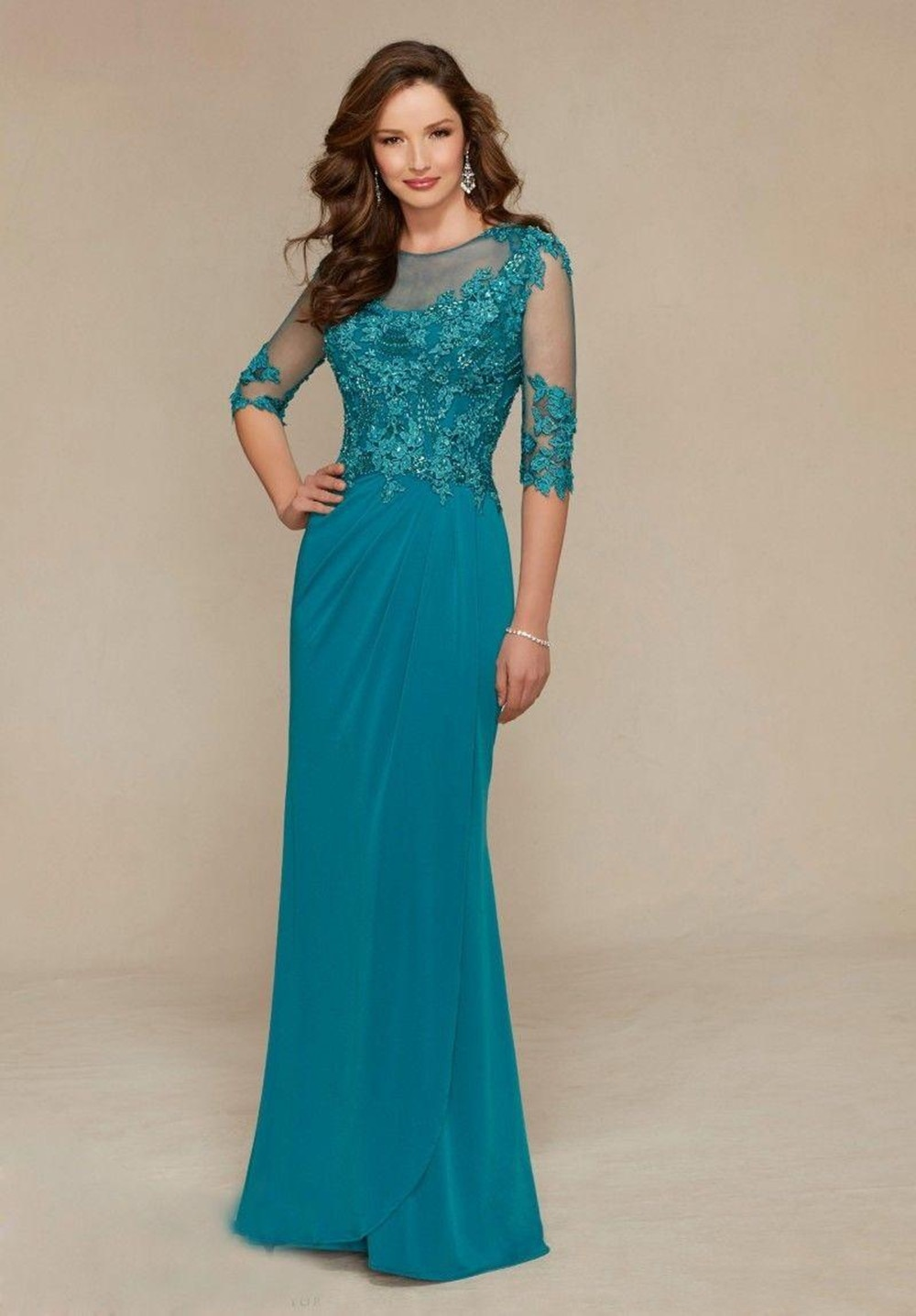 Floor Length Mother Of the Bride Dresses 3/4 Long Sleeve Lace Beaded Wedding Guest Dresses Jewel Nec