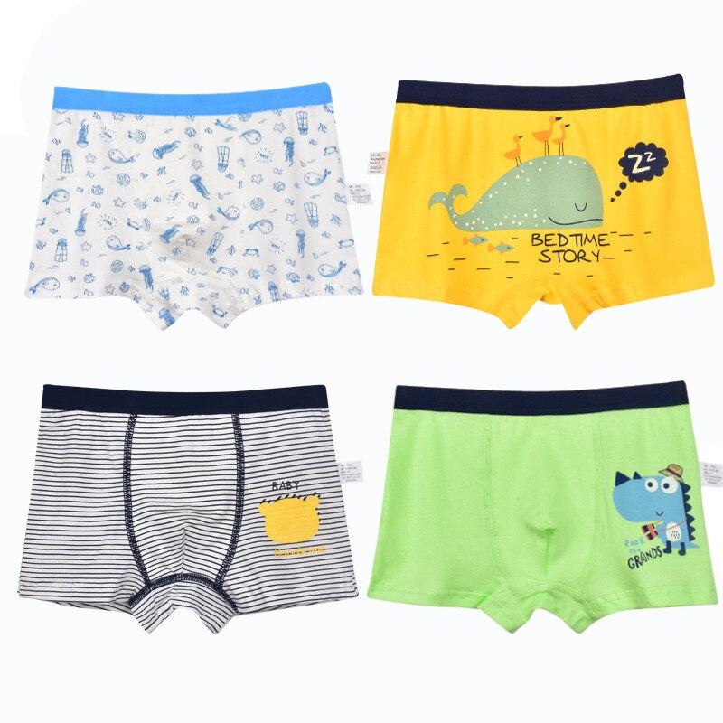 4PCS Baby Panties Kids Underwear Children Lovely Dinosaur Boys Underpants Cotton Boxer Children For Boy Shorts Teen Underwear