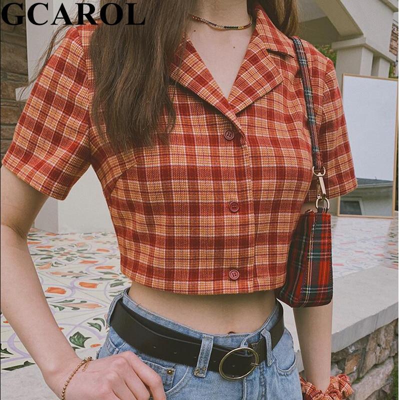 Gcarol nova primavera verão xadrez recortada topos sexy estilo euro turn down collar curto verificado blusa meninas estilo preppy camisa em 3