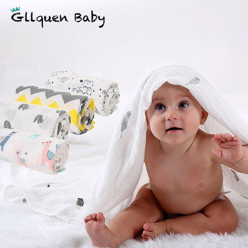 Musselina swaddle cobertor 100% algodão orgânico envoltório macio bebê unissex neutro burp pano conjunto perfeito tamanho 47x47 polegada chuveiro presente