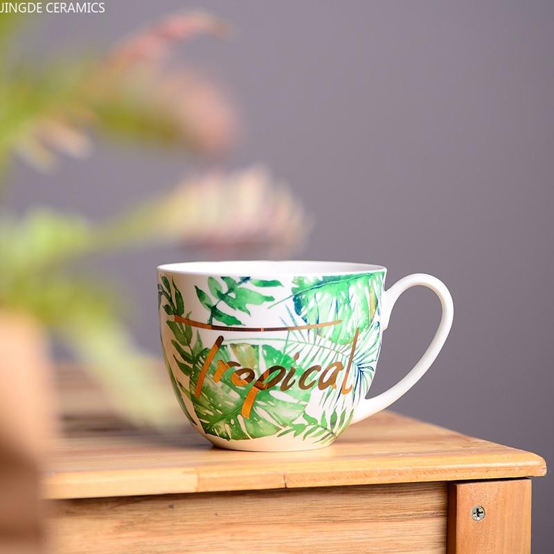 1 قطعة السيراميك النبات فنجان شاي الشمال نمط شخصية دقيق الشوفان الإفطار كوب مكتب الشاي أكواب مياه أدوات الشرب المنزلية لوازم