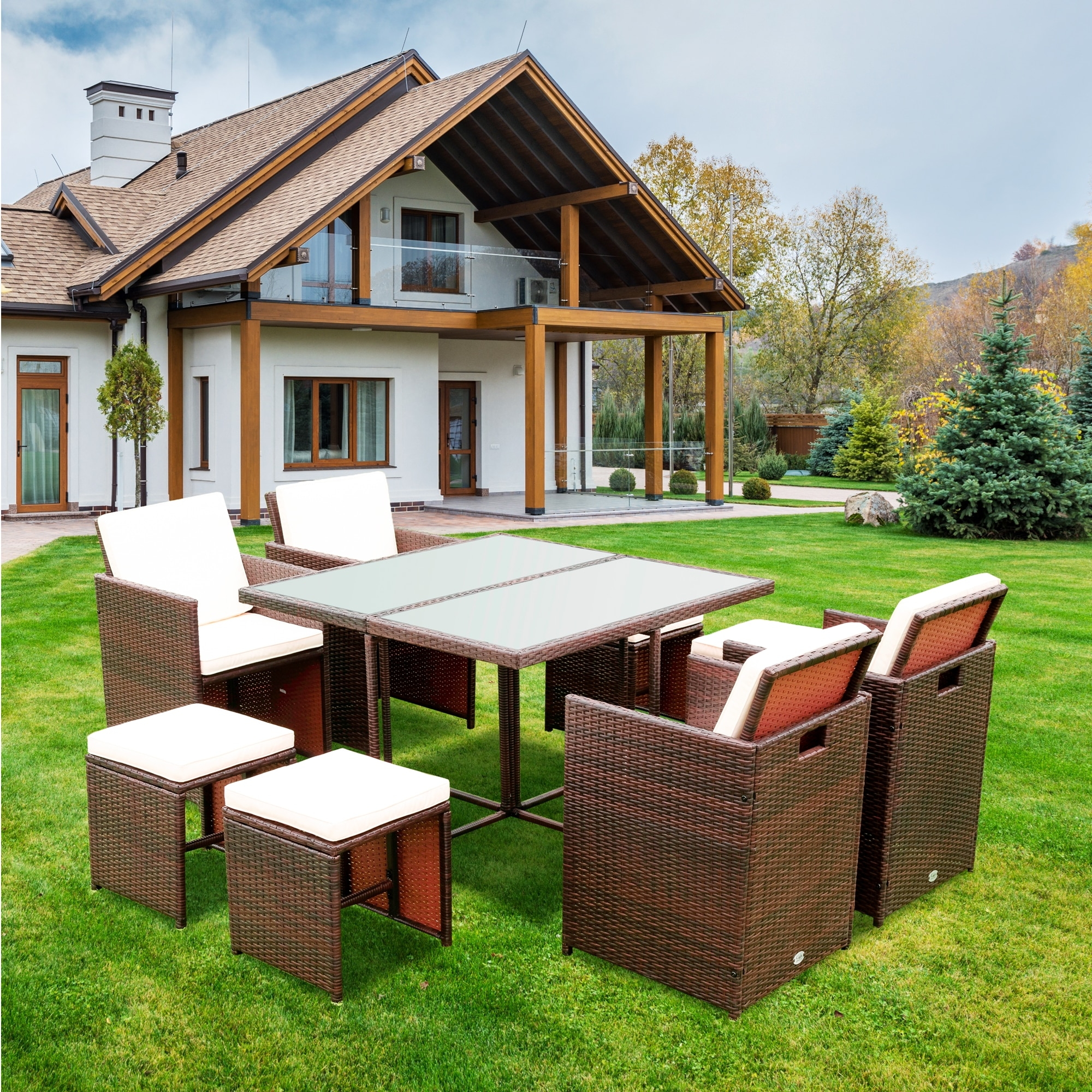 Набор секционных диванов из 9 предметов, комплект мебели для патио, комплект диванов для разговора, садовые аксессуары, украшения для дома
