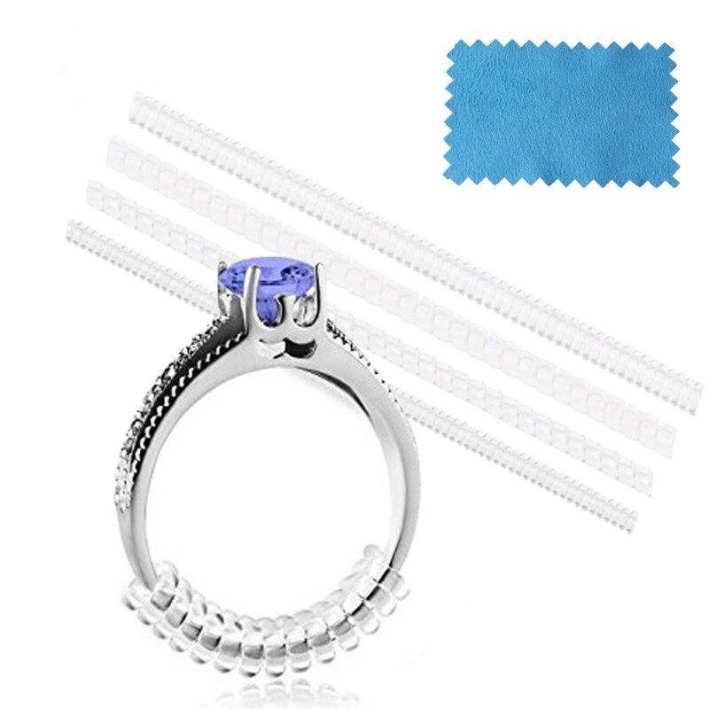 Atacado quente 4 pçs vintage espiral baseado anel tamanho ajustador shellhard guarda tightener redutor redimensionar diy jóias ferramentas peças