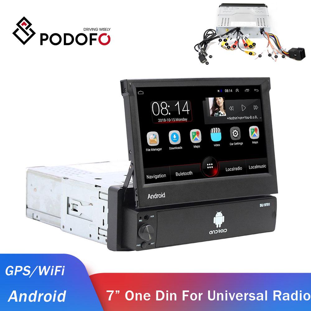Podofo 1din Android Car Radio GPS coche reproductor Multimedia one Din audio estéreo para Volkswagen Nissan Hyundai Kia Toyota autoradio