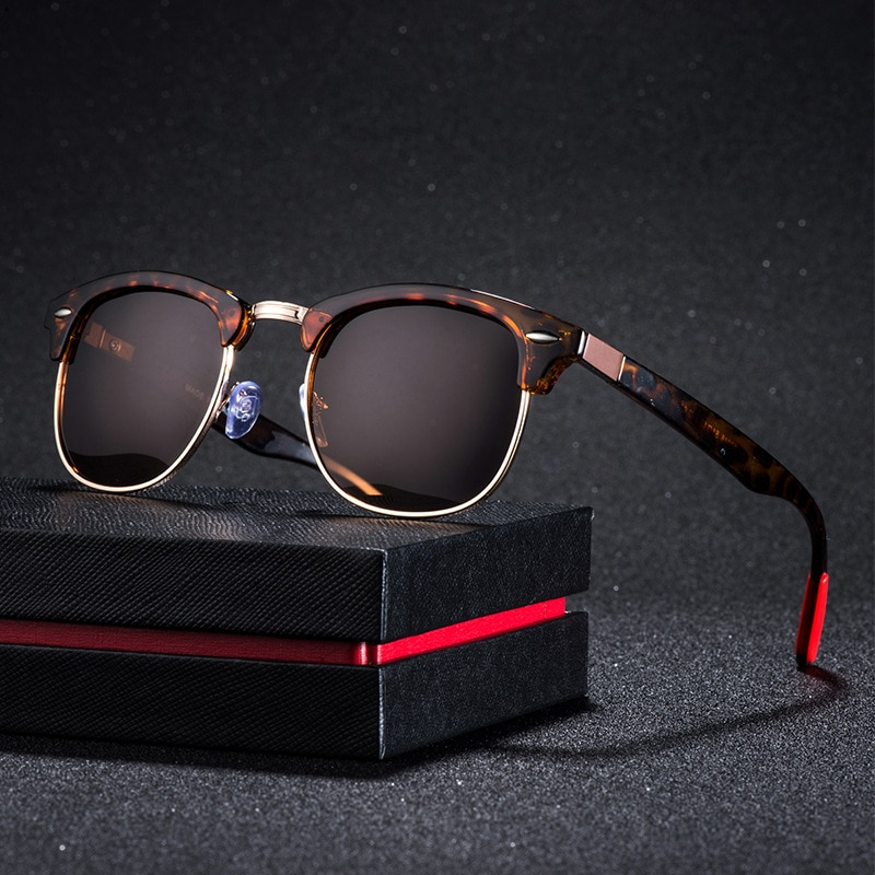 Retro Polarized Sunglasses Men and Women 2020 Rivet Square UV400 Black Colored Sun Glasses Male Sung