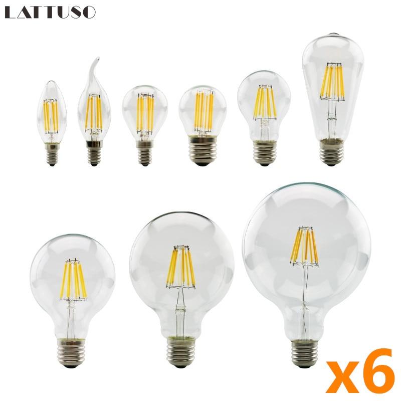 Светодиодная лампа накаливания E27 E14 Retro, 6 шт./лот, лампа Эдисона AC 220 В 230 в 240 В C35 G45 A60 ST64 G80 G95, винтажная стеклянная лампа, свеча