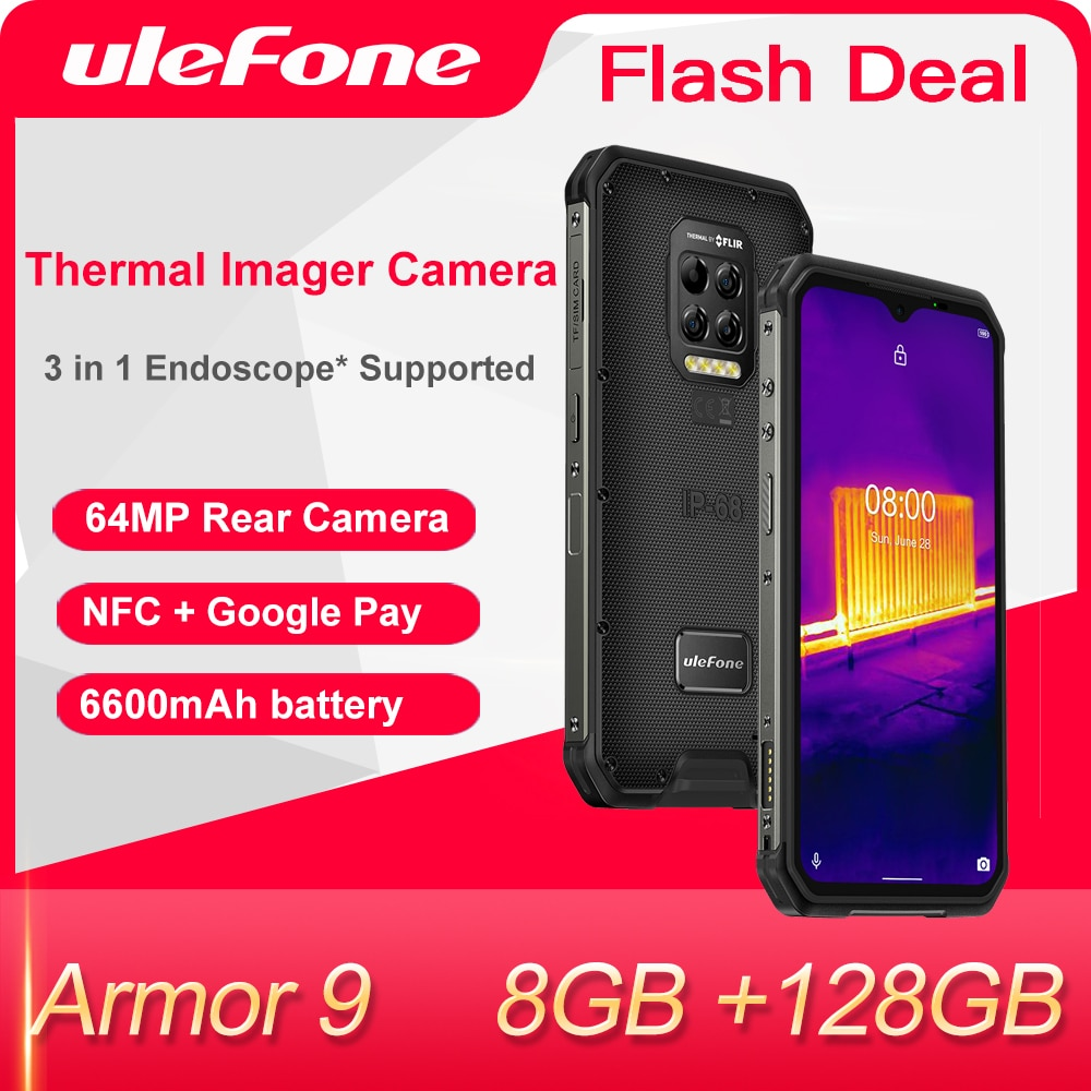Ulefone Armor 9 Thermal Imager Camera  Rugged Phone Android 10 Helio P90 Octa-Core 8GB+128GB Mobile Phone 6600mAh  Smartphone недорого