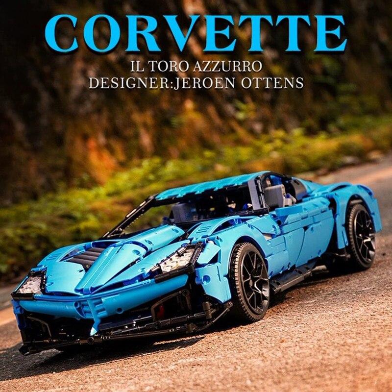 MOC 31189 2700 Uds técnica Chevrolets Corvettes gran deporte Il Toro Azzurro modelo Juguetes de bloques de construcción, regalo