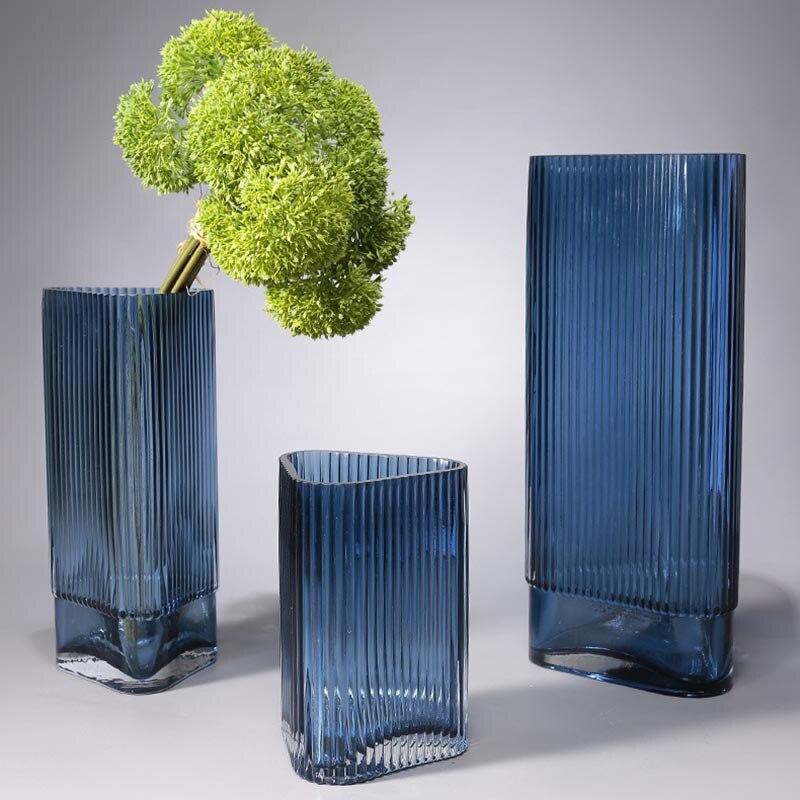Florero de vidrio azul triangular creativo, decoración del hogar, decoración moderna para mesa de salón, adornos para jarrón, maceta de cristal hidropónica