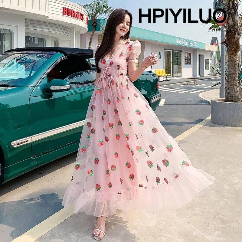 المرأة فستان طويل حفلة الفراولة الصيف الترتر شبكة الحلو لوليتا عالية الخصر أسود وردي تول فستان ماكسي جودة الأصلي