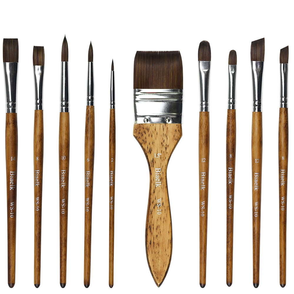 High Quality 10PC/Set WS-10 Taklon Hair Wooden Handle Watercolor Artist Art Supplies Paint Brushes