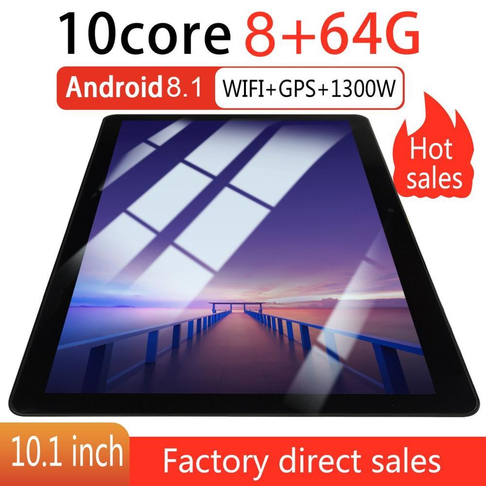 Kt107 redondo buraco tablet 10.1 Polegada hd tela grande android 8.10 versão moda portátil tablet 8g + 64g preto.