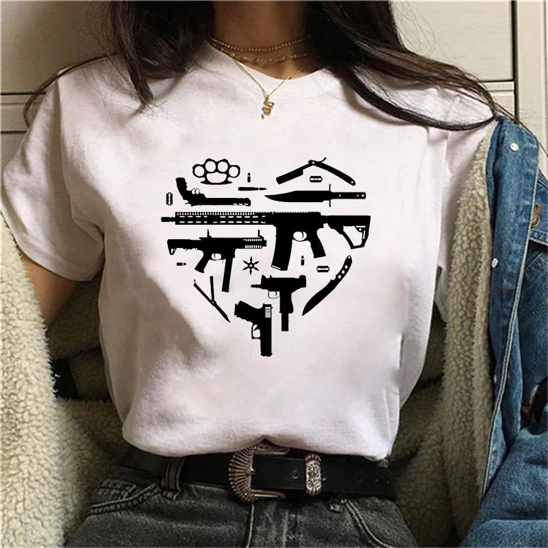 Guns Love women'S T-Shirt Fashion Graphic Tee Cute Women T-shirt Female Tee Shirt 90s Girls fashion