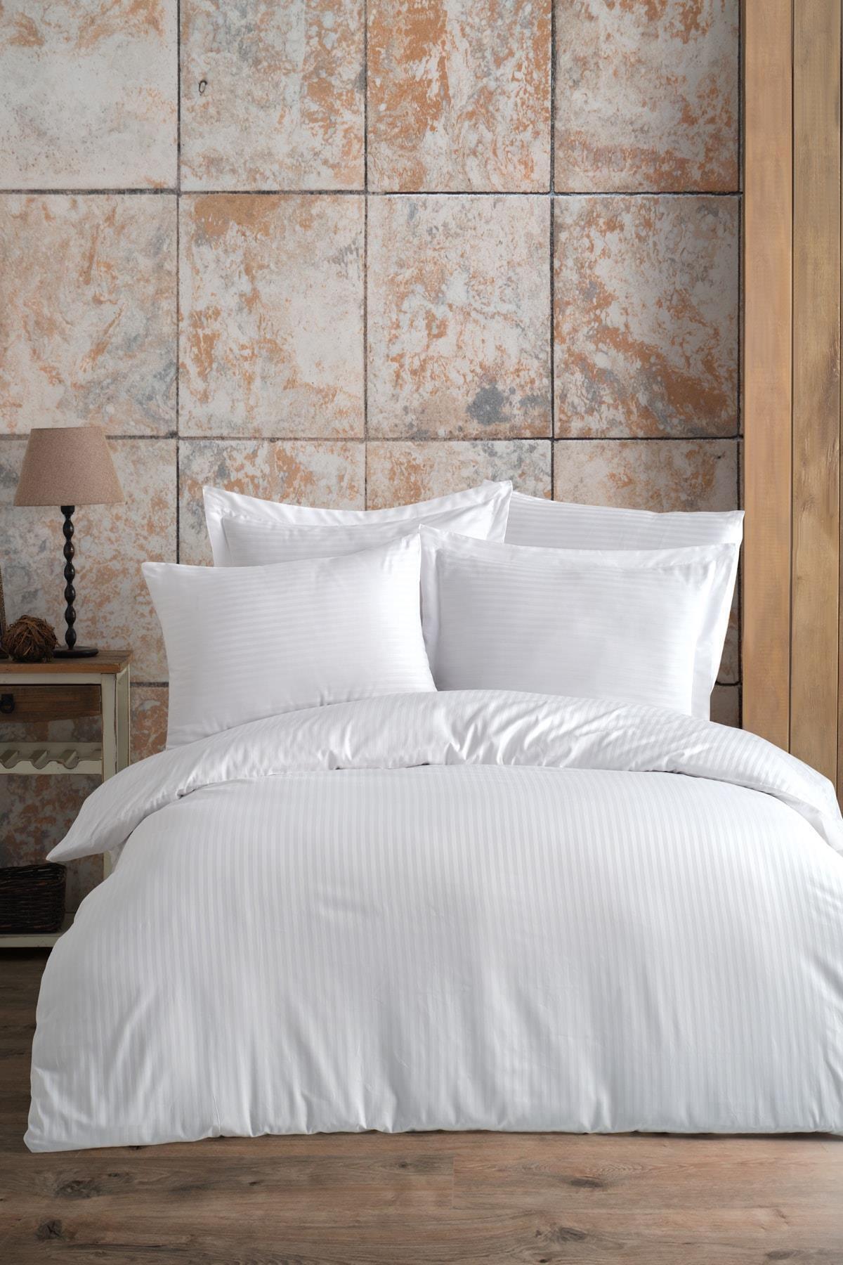 طقم ملاءة سرير ساتان مقاس كينج ، عجلة قطنية 280x290 ، أبيض