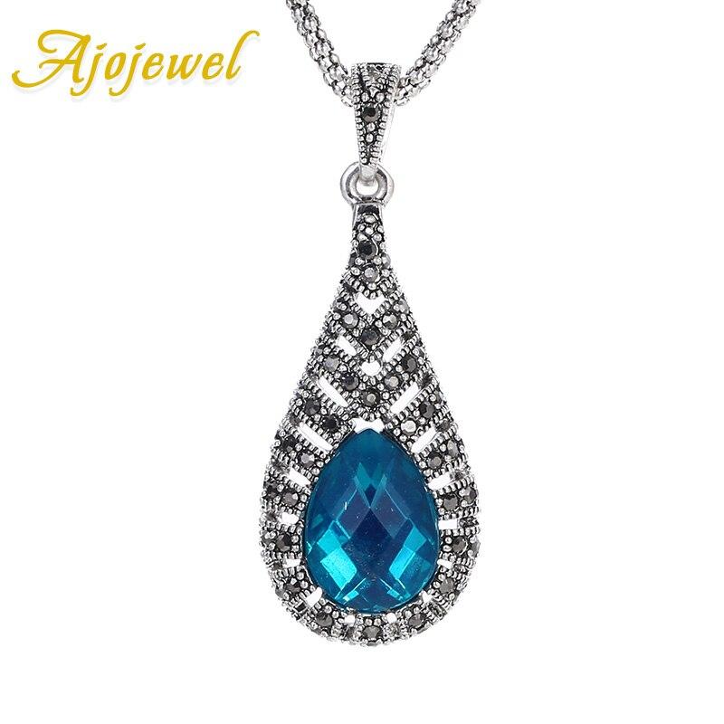 Ajojewel, collar con colgante de gota de agua de cristal azul para mujer, collares Vintage de Color plateado, joyería de moda, collar de noel