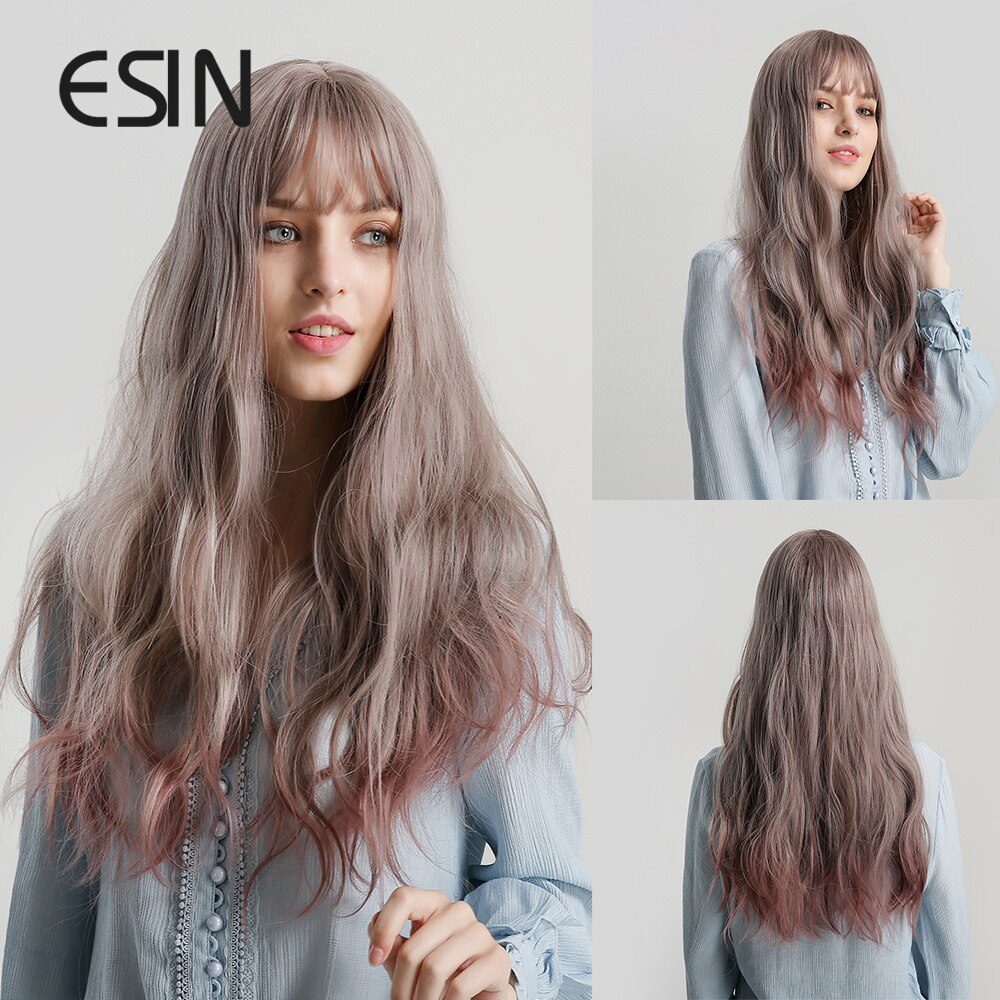 AliExpress - ESIN Ombre Brown Synthetic Wigs Long Natural Wave Heat Resistant Hair Dark Root Cosplay Wig For Black/White Women