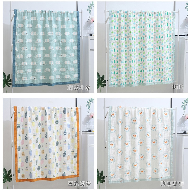 Baby Swaddle Blanket Baby newborn baby Blankets Swaddling gauze quilt muslin Bath towel Printing 120*150cm YGH001