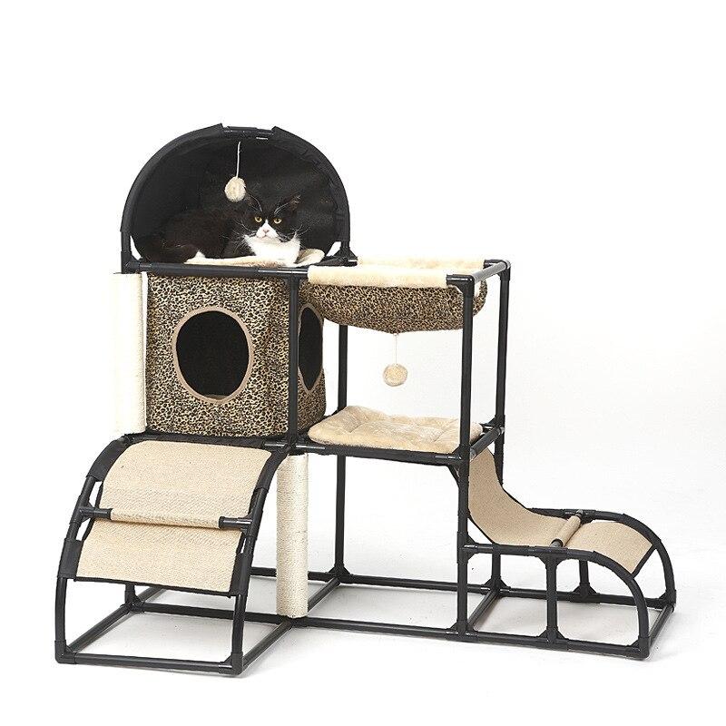 5 En 1 gato cama casa mascota cama marco casa para gato productos para mascotas gato rascador escalada marco perrera cuerda gato estante dropshipping. Exclusivo.