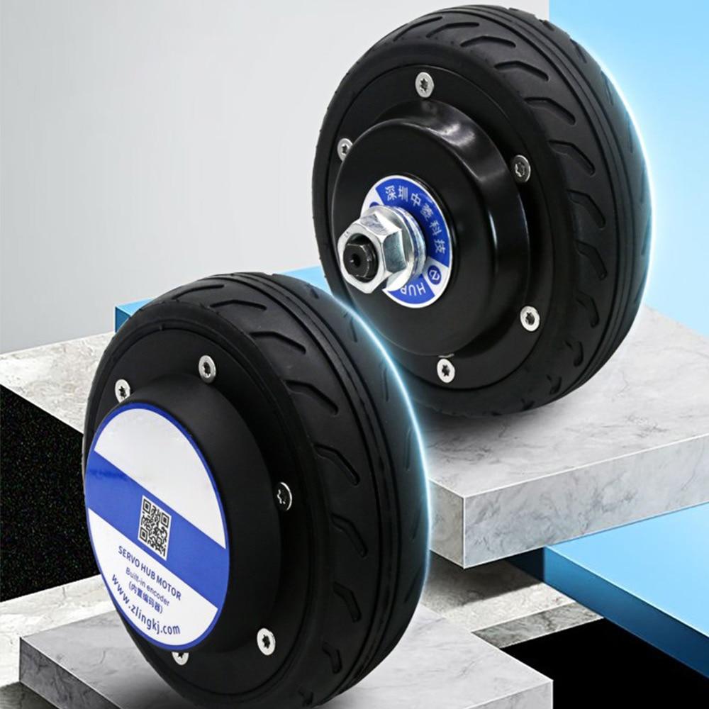 24V 5-Inch Built-in Encoder Robot AGV Trolley Wheel Hub Servo Motor Driver Single Axis/Double Shaft Sleeve enlarge