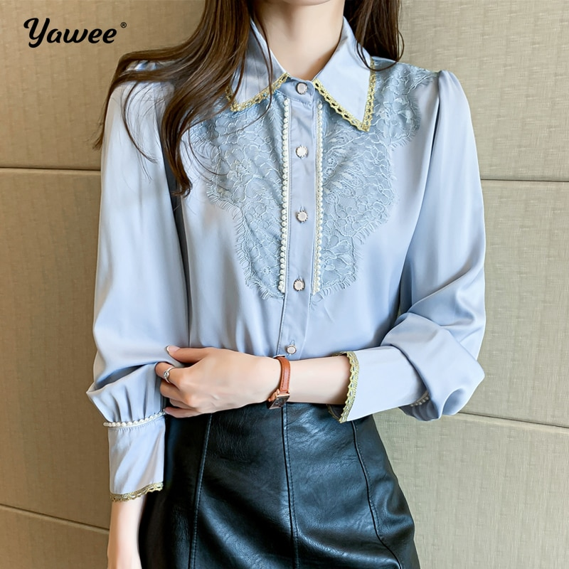 Casual Loose Women Shirts 2021 Autumn New Fashion Collar Plus Size Blouse Long Sleeve Buttons blue Shirt Tops