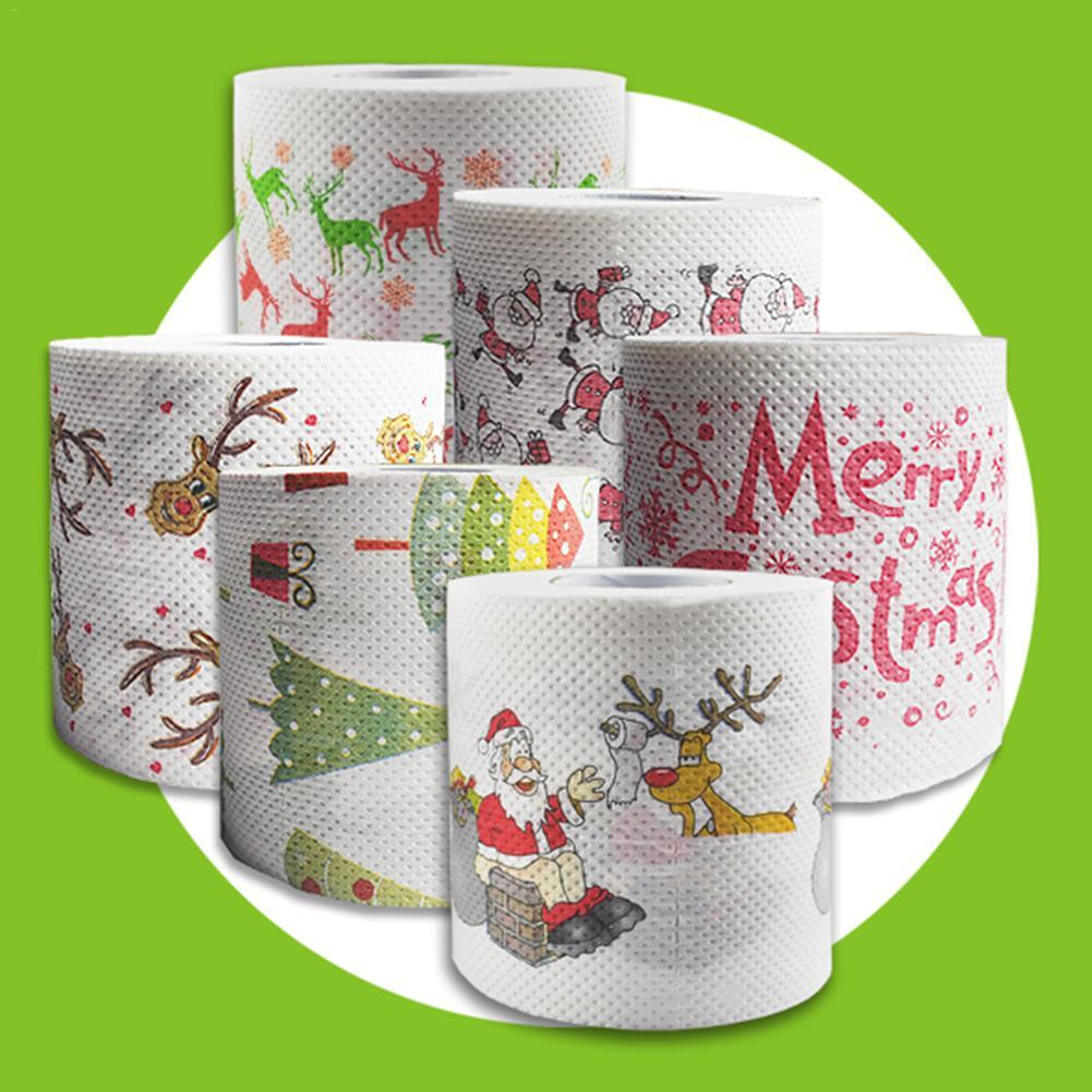 2020 papel higiênico natal padrão série rolo papel papai noel imprime engraçado papel higiênico decoração natal tecido rolo casa suprimentos