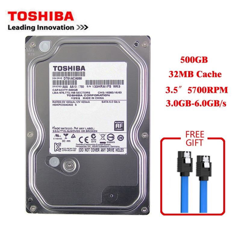 "Toshiba marca 500GB ordenador de sobremesa 3,5 ""Disco Duro mecánico interno sapa3 3-6 Gb/s HDD 32MB Cache 500GB 5700RPM buffer"
