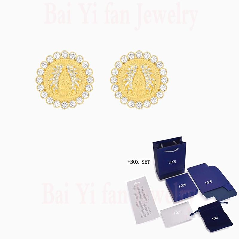 Moda jóias swa nova deusa sorte brincos amarelo elementos de ouro anjo asas disco forma cristal feminino presente romântico