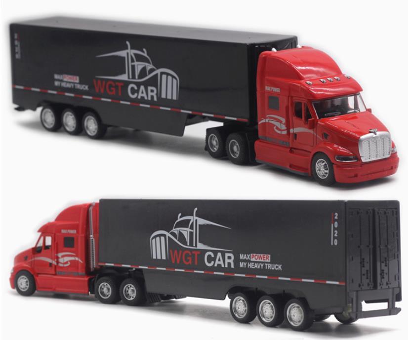 نموذج شاحنة حاوية سبيكة 1:48 ، شاحنة شحن عالية محاكاة ، ألعاب تعليمية للأطفال ، شحن مجاني