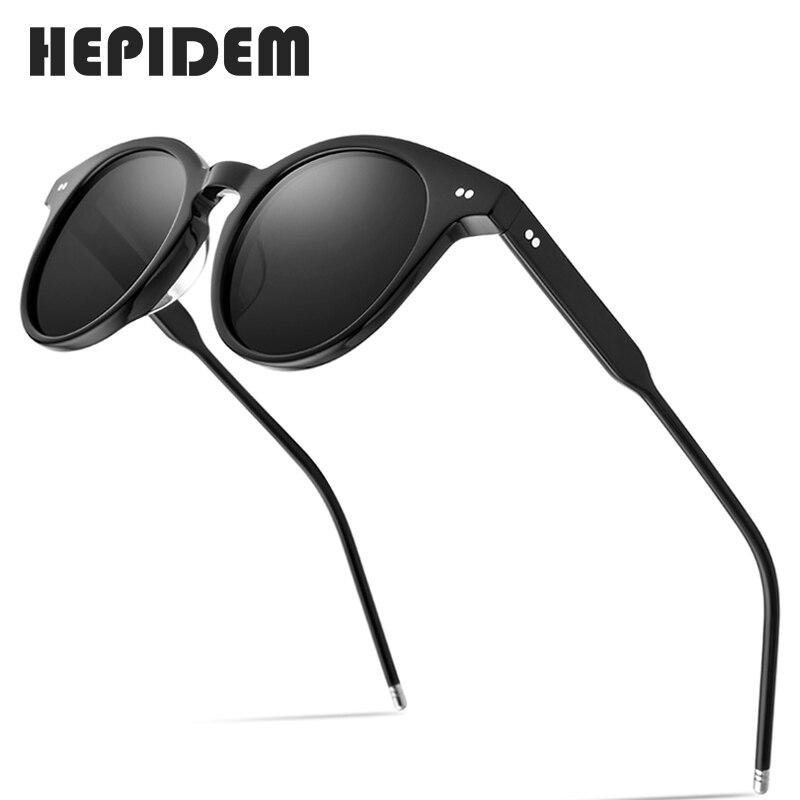 HEPIDEM خلات الاستقطاب النظارات الشمسية النساء 2020 جديد العلامة التجارية مصمم عالية الجودة خمر نظارات شمسية مستديرة للرجال UV400 9127