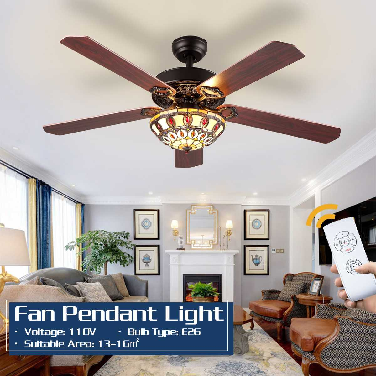Retro 52 Polegada ventiladores de teto de madeira ventilador de teto quarto luz de teto ventilador de vidro de madeira luzes controle remoto 110v e26
