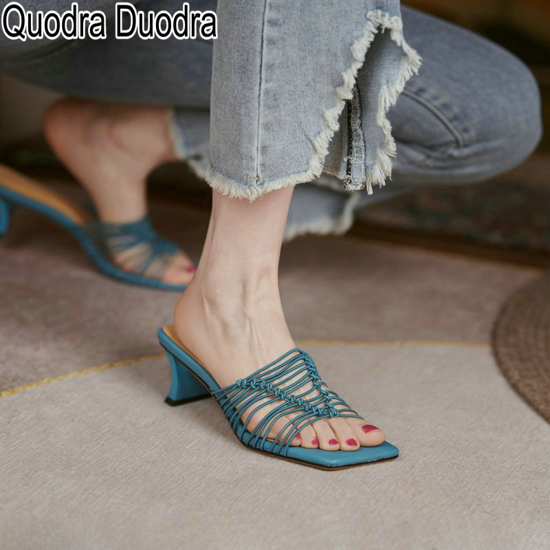 new summer Sandals women shoes open toe thick high heels mules Ladies Female fashion casual Hollow o