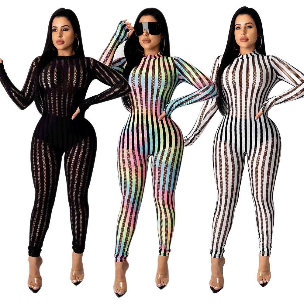 Sexy Women Stripe Patchwork Jumpsuit Elegant Long Female Overalls Transparent Body Suit See Through Night Party Jumpsuit Plus