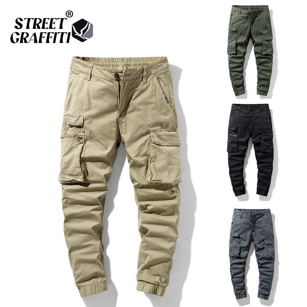 2021 New Spring Men's Cotton Cargo Pants Clothing Autumn Casual Fashion Elastic Waist Quality Pantal