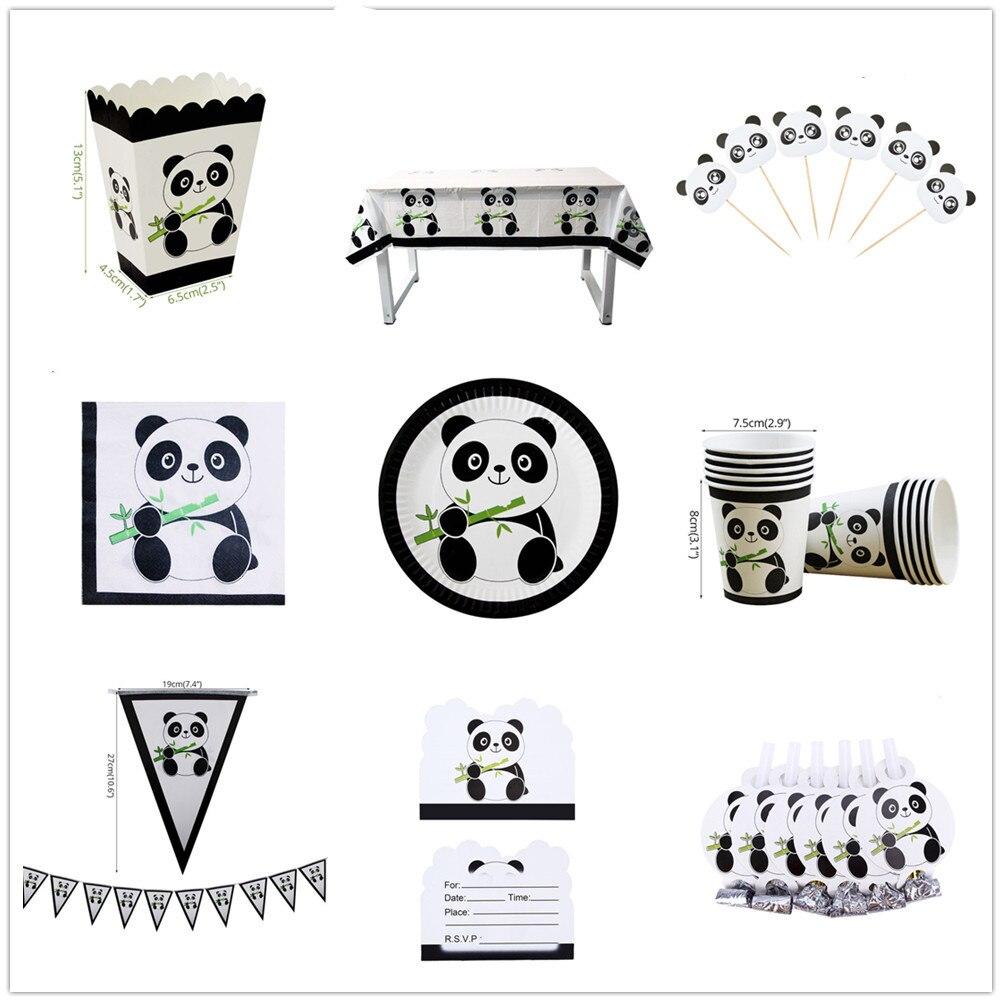 Panda tema niños cumpleaños fiesta suministros bambú papel paja platos tazas Banner pastel Toppers vajilla desechable niño Baby Shower