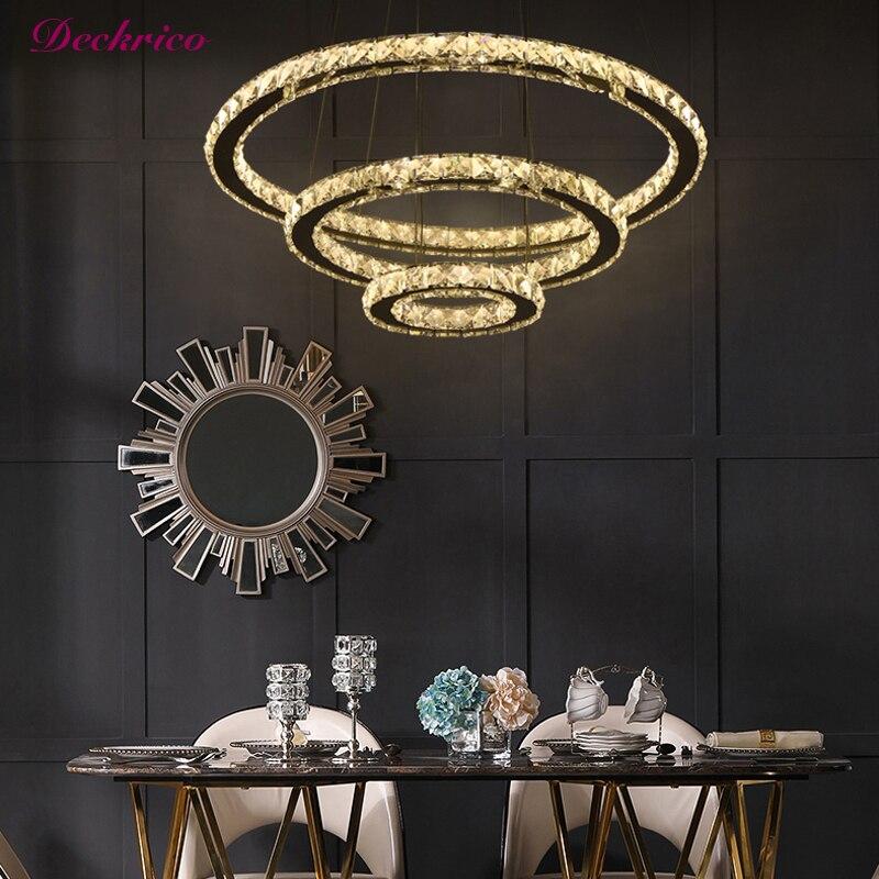 Современные хрустальные люстры в форме кольца, подвесные светильники, украшение для гостиной и кухни, светодиодные потолочные светильники,...